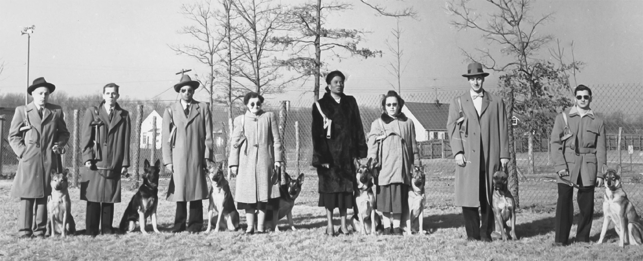 A group of 8 graduate guide dog teams from 1952.