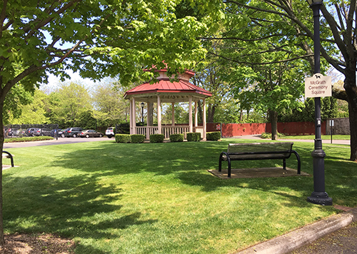 The square and gazebo during a spring day