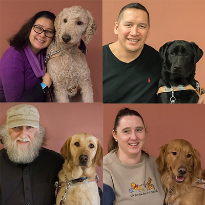 Collage of grads with their guide dogs.
