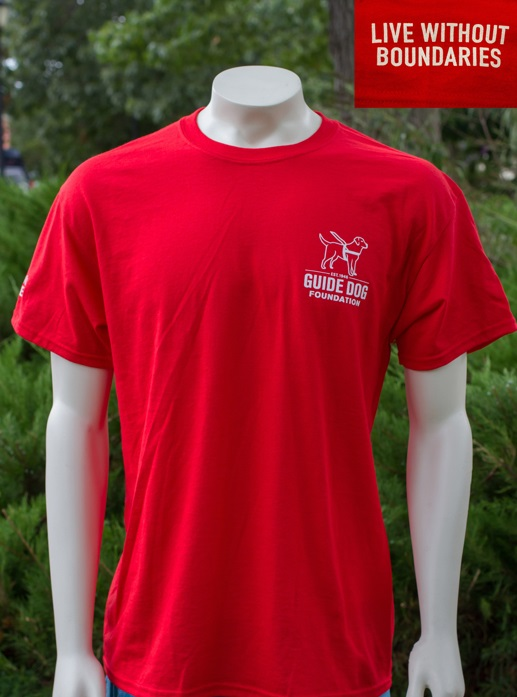 Guide Dog Red T-Shirt Arm Logo (Live w/o Boundaries) Small
