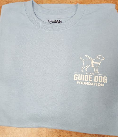 Guide Dog Light Blue T White Ink Small