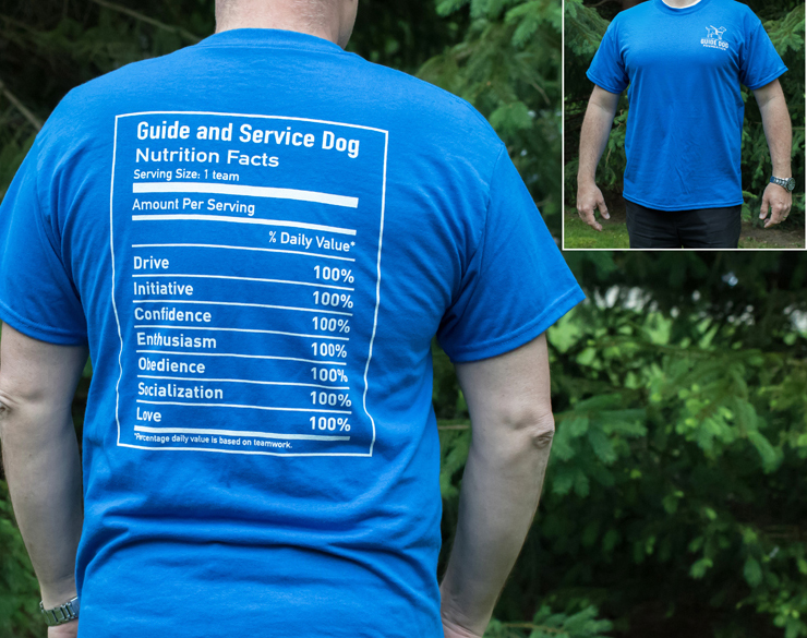 "GDF Royal Blue T-Shirt ""Nutrition"" facts on back L"