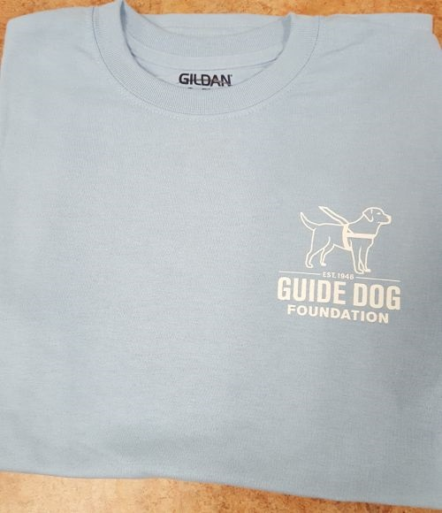 Guide Dog Light Blue T White Ink XL