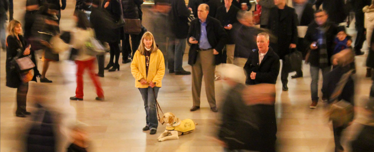 A puppy raiser stands with her pup in a busy train station.